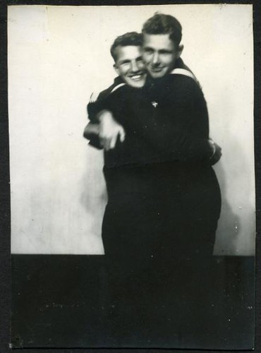 1940s two handsome sailor men navy military hugging embrace smiling queer gay | by Christian Montone