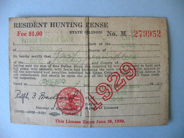 Kostanty gust iwanski 39 s 1929 illinois hunting license for Il fishing license