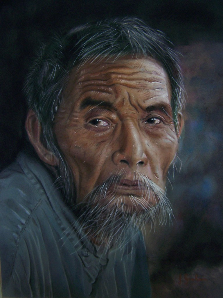old asian man painting by john graham pastel painting