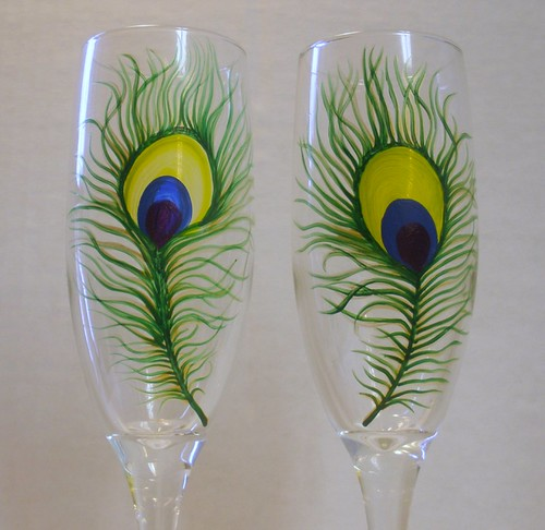 Painted Couple Peacock Wedding Gifts Unique Delicate Home: Peacock Feathers Hand Painted Champagne Flutes