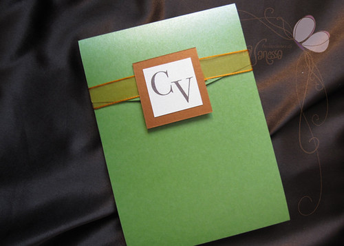 Orange And Green Wedding Invitations: Green And Orange Wedding Invitation
