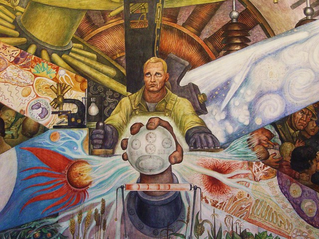 detail of diego rivera mural man controller of th