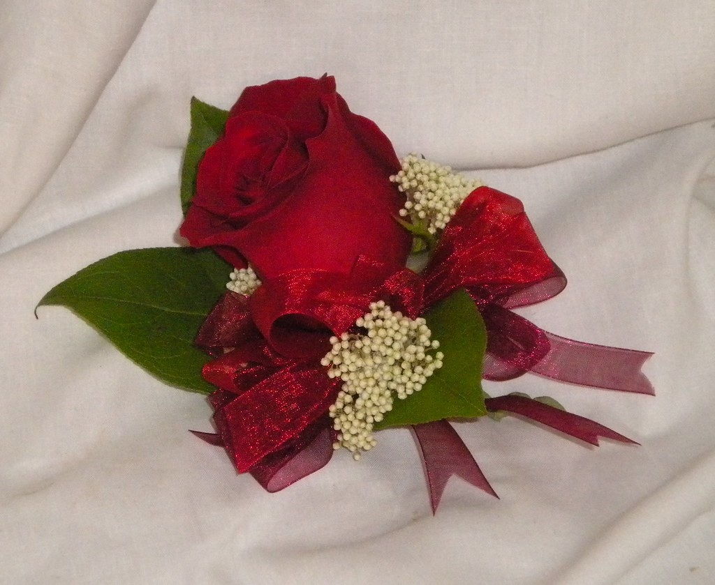 Corsage: Red Rose with Rice Flower Accent | Rose of Sharon Floral ...