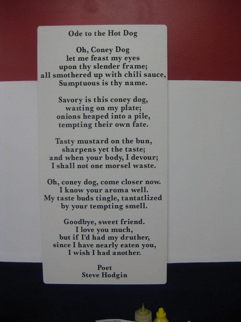 Ode to the Hot Dog — A poem on the wall at America's Top D ...