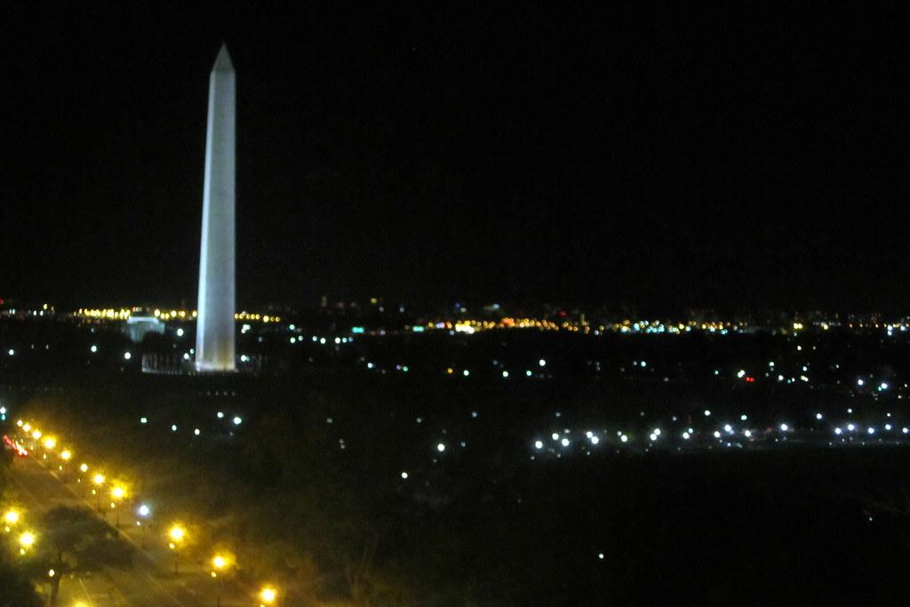 Washington Dc Washington Monument At Night From Pov Roof