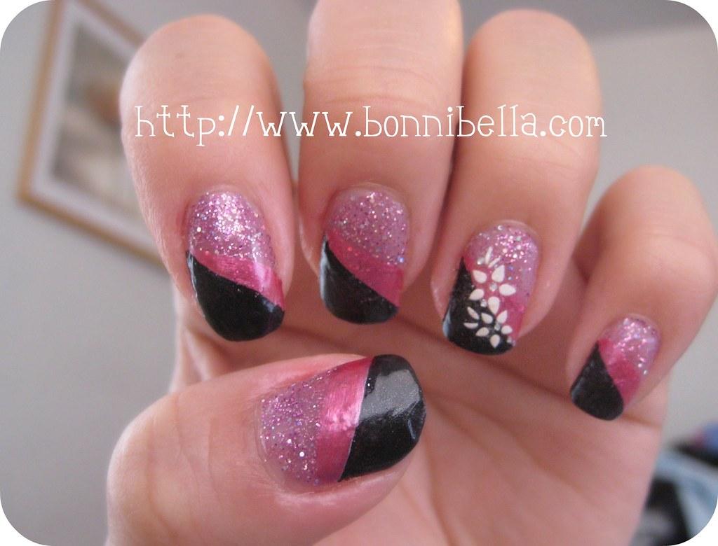Nail Art Tri Color Pink Glitter Black Pink White Flow Flickr