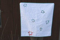 red and aqua stars quilt | by filminthefridge
