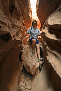 Sam stuck in Little Wild Horse Canyon | by Patrick Berden