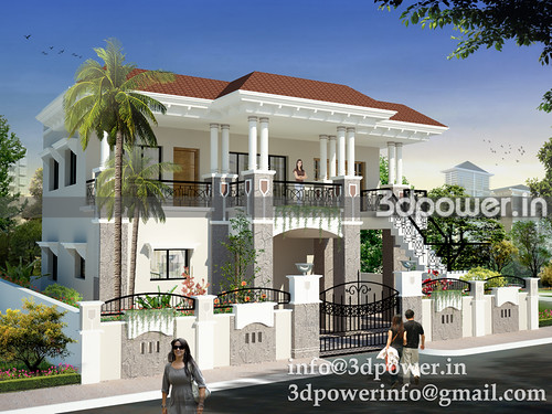 Bungalow bungalow 3d modeling india for Indian bungalow designs photo gallery