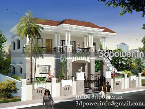 Bungalow bungalow 3d modeling india for Indian bungalow plans designs