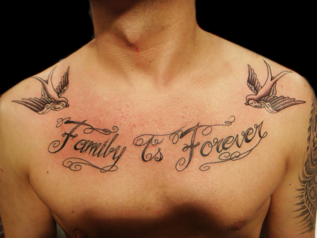 Family is forever lettering tattoo miguel angel custom for Is a d ointment good for new tattoos