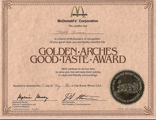 Golden Arches Good Taste Award | by jumbledpile