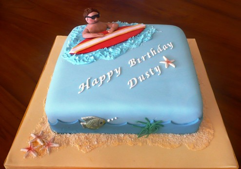 Happy Birthday Surfing Cake