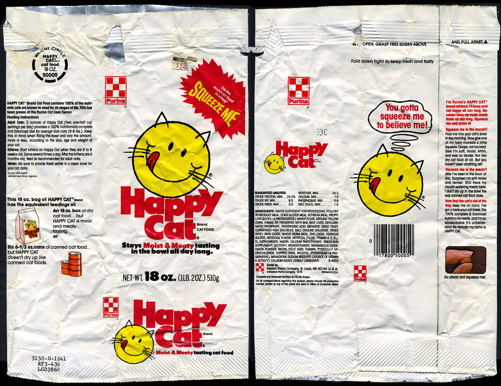 purina happy cat cat food bag 1979 though i believe ha flickr