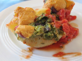 Spinach Stuffed Pasta Shells with Homemade Vegan Cheese and Tomato Sauce | by veganbackpacker