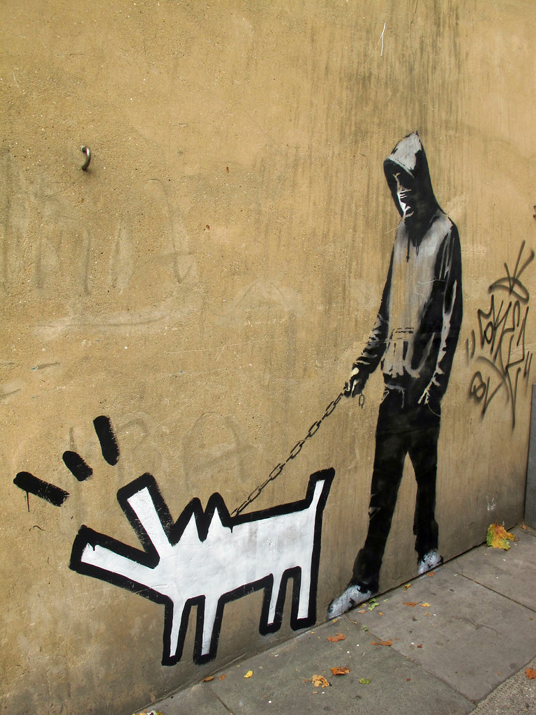 Hoodie walking the dog by Banksy. | I couldn\'t take a full o… | Flickr