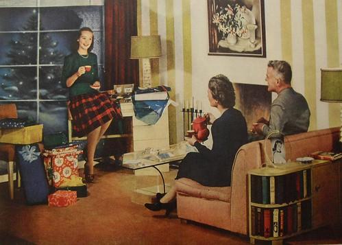 1940s Christmas Interior Vintage Design Photo Advertisemen