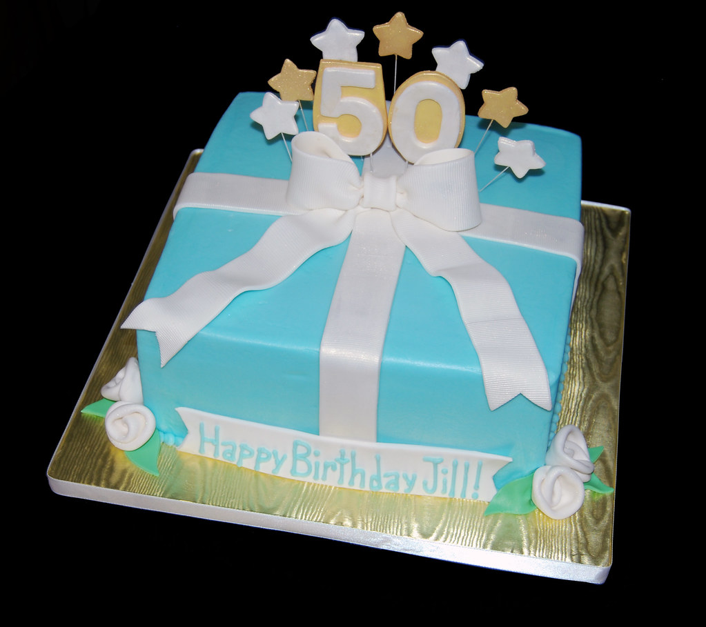 50th birthday package cake gold white and blue read more for 50th birthday decoration packages