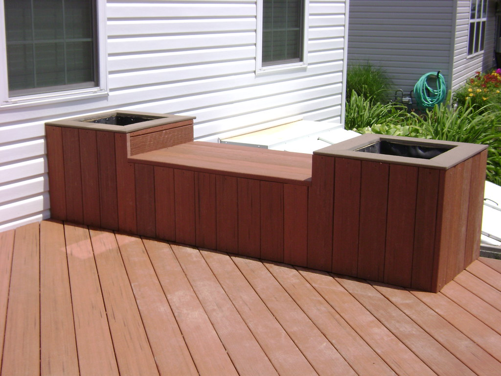 Deck planters seat this is a moisture shield composite for Garden decking seating