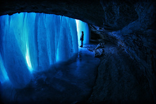 behind frozen minnehaha falls minneapolis | by Dan Anderson.
