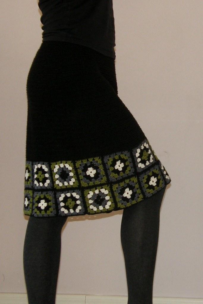 Crocheted granny square skirt 70% merino wool, 30% silk ...