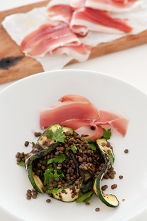 lentil salad with bbq zucchini  & proscuitto | by jules:stonesoup