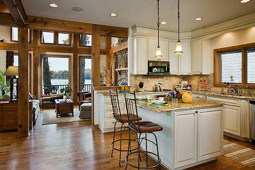 West Lake Timber Frame Home Kitchen Open To The Dining