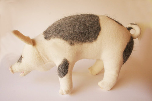 stuffed pig with felting | by Textile Art/Needle Felting