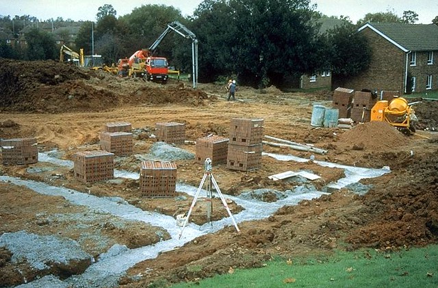 Vertical strip foundations being poured vertical strip for Poured foundations