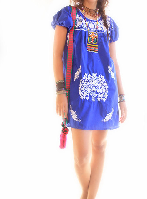 ... Royal blue and white Mexican embroidered dress | by Aida Coronado  Galeria