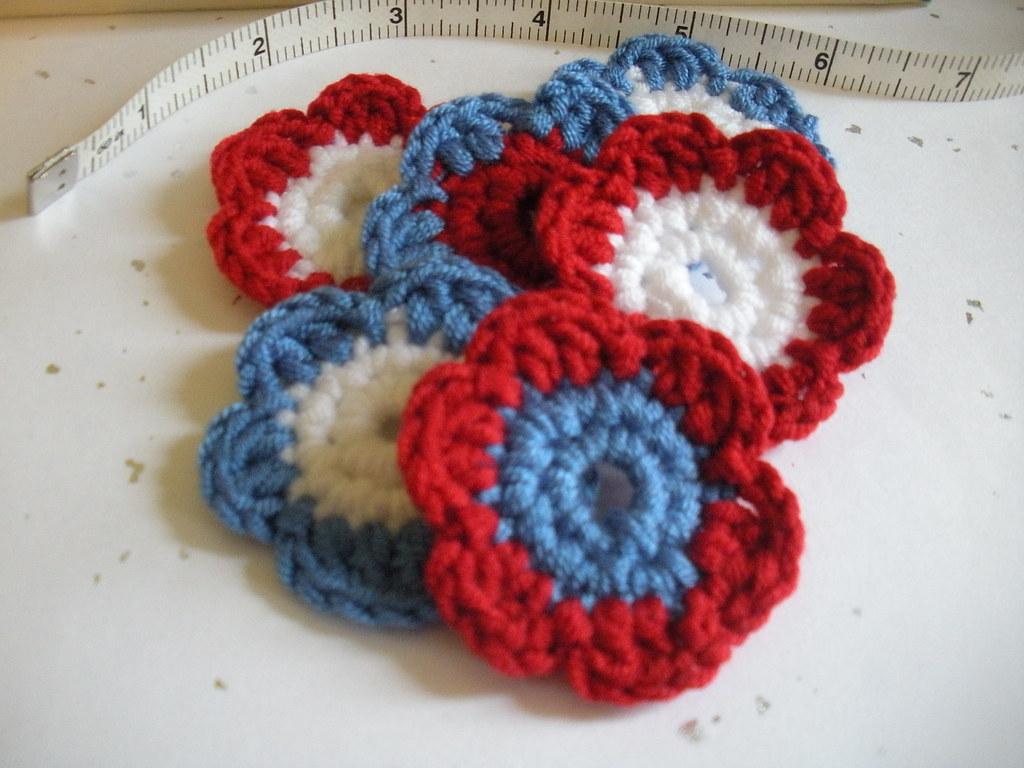 Crochet applique red white & blue flowers crochet appliqueu2026 flickr
