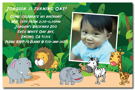 Safari Zoo First Birthday Invitations Safari Zoo First – Safari First Birthday Invitations