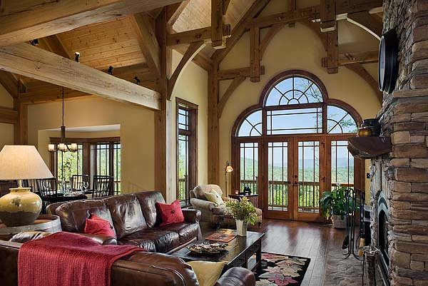 Cattail Lodge Timber Frame Home Greatroom This