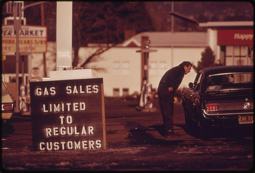 During the Fuel Crisis before Gasoline Sales Were Regulated by the State a Dealer in Tigard, Pumped Gas Only to His Regular Customers. The Driver in This Picture Was Refused Service 01/1974 | by The U.S. National Archives