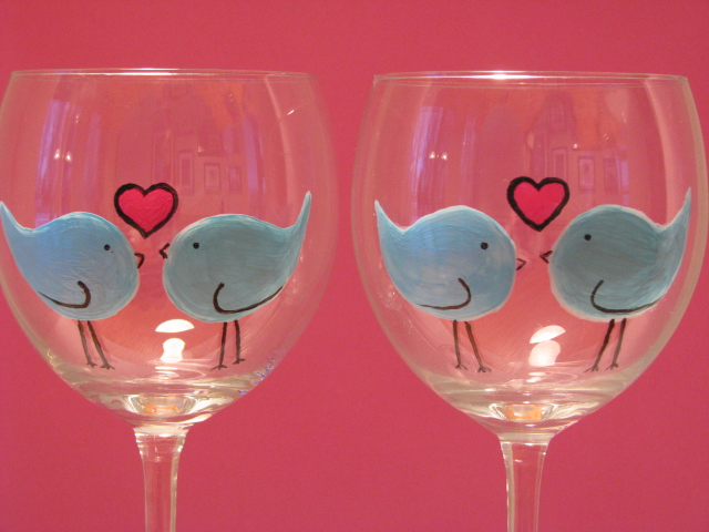 Hand Painted Wine Glasses Love Birds Two Hand Painted
