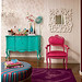Turquoise dresser and pink chair