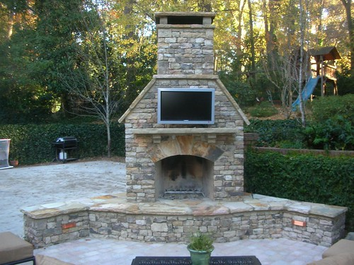Buckhead outdoor fireplace and tv innovative outdoors - Outdoor fireplace with tv ...