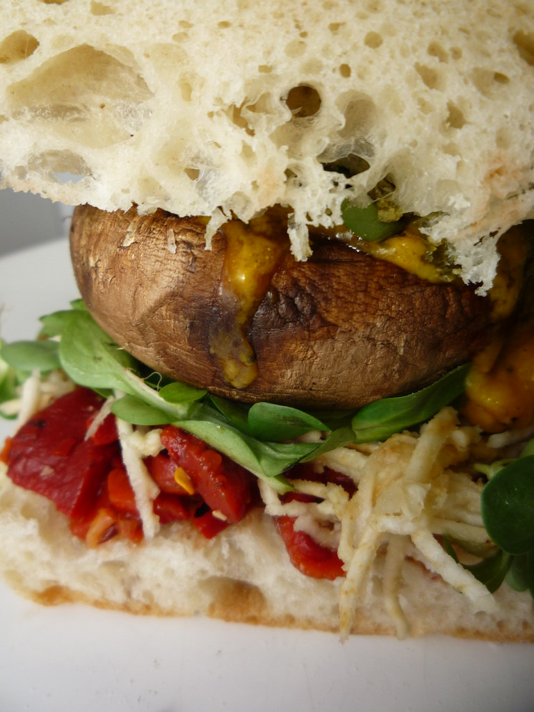 Mushroom Burger with Spicy Pepper Relish and Celeriac Remo… | Flickr