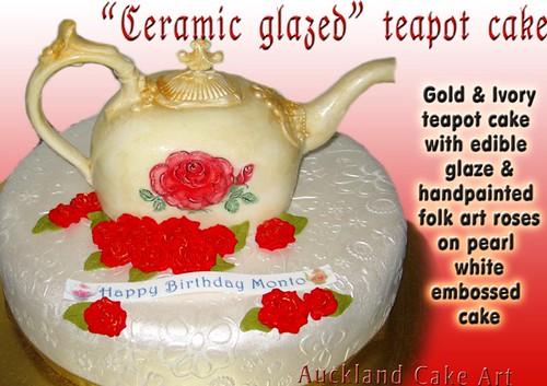 Cake Art N R Colony : ceramic glazed teapot birthday white chocolate cake Flickr