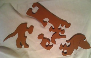 Assembled - Dachshund Puzzle wood brown 1/4 | by Denise.Miesner