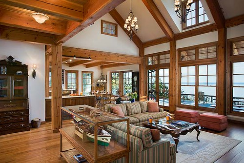 The tuscany iii timber frame home great room the clean for Timber frame great room