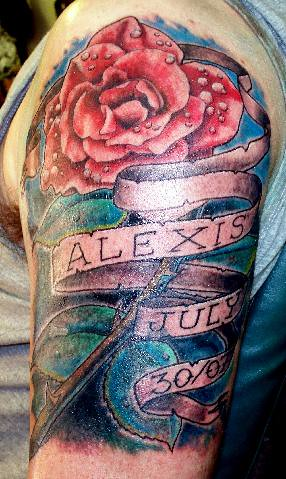 Dewy Rose And Banner Memorial Tattoo A Dew Covered Red Ros Flickr