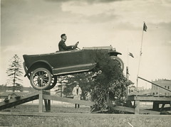 "Overland car jumping a ""fallen bridge"" in a promotional stunt, 1920 - 1929 