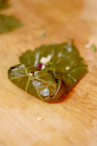 assembling grape leaves 3 | by Forkable Blog