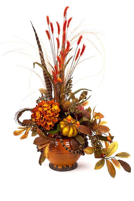 Fall arrangement silk flowers artificial christmas for Fall fake flower arrangement ideas
