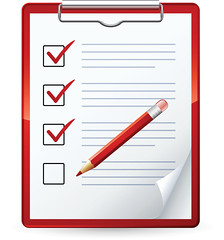 Clipart Illustration of a Red Pencil Marking Of Items On A Check List On A Clipboard | by tomas_fitnesscoach