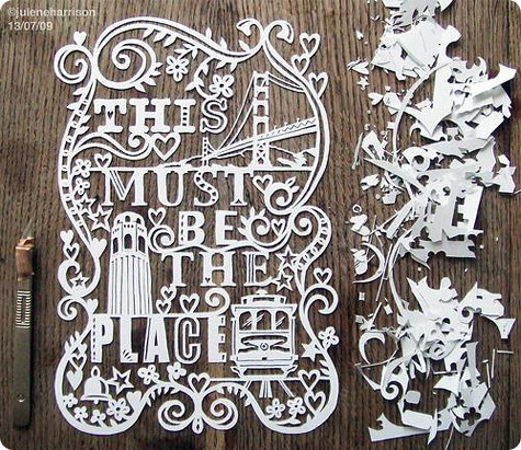 Cut out of love graphic art illustration typography paper for Art design ideas for paper