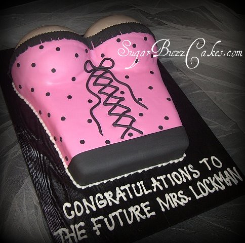 hot pink black torso bridal shower cake by sugar buzz cakes by carol