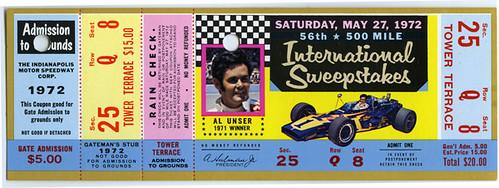 1972 indianapolis 500 ticket indianapolis motor speedway for Indianapolis motor speedway com