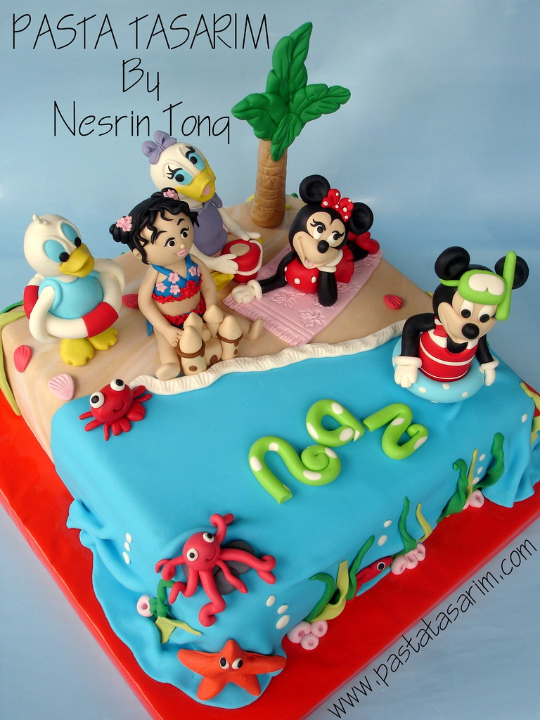 Disney Characters In Beach Birthday Party Cake Cake By